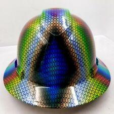 Full Brim Hard Hat Custom Hydro Dipped Multi Color Basket Weave Carbon Fiber New