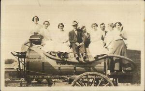 People-on-Water-Wagon-Winnebago-County-WI-Wisconsin-c1910-RPPC-Postcard