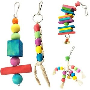 Parrot-Pet-Bird-Chew-Cages-Hang-Toys-Wood-Large-Rope-Swing-Ladder-Bells-Toys
