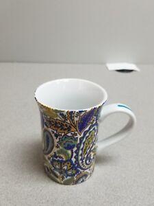 Details About Punctuate Barnes Noble Coffee Tea Cup Mug Porcelain Blue Turquoise Paisley
