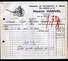 """YVETOT (76) USINE / Constructeur de VOITURETTES & BROCS à LAIT """"HARIVEL"""" 1950"""