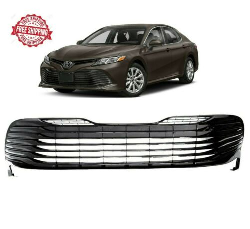 For 2018 2019 Toyota Camry L LE XLE Hybrid Front Bumper Grill Gloss Black Grille