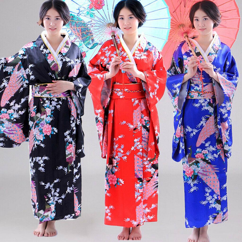 Kids Baby Girls Women Outfits Kimono Robe Japanese Traditional Cosplay Costume