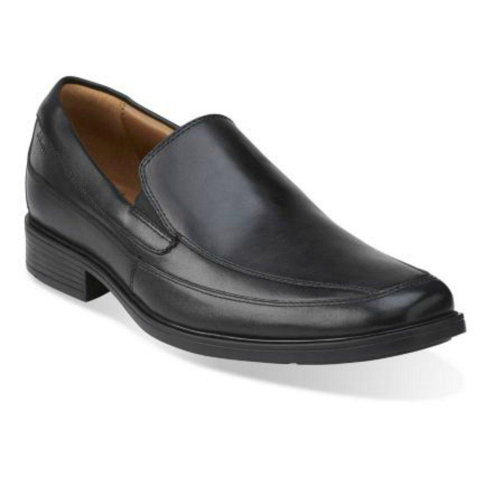 Clarks Tilden Pour Homme Noir À Enfiler Mocassin en cuir chaussures