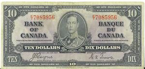 Bank-of-Canada-1937-10-Ten-Dollars-Coyne-Towers-Prefix-E-T-VF