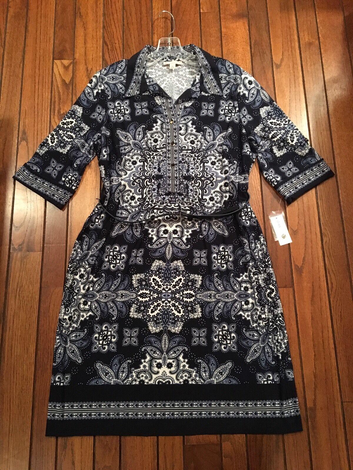 NWT Women 16 Dressbarn bluee Knit Floral Paisley Spring Shirt Sheath Dress Career