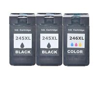 2 PG-245XL+1 CL-246XL Black Color Ink for Canon PIXMA MG2420 MG2924 MX490 MX492