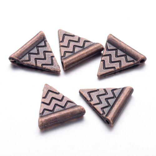 100pc Triángulo Suelto Espaciador Granos de Metal Tibetano Rojo De Cobre Pizza Joyería encontrar