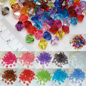 BICONE-100Stk-8mm-BUNT-MIX-Acryl-PERLEN-Kunststoff-Rhomben-Farbwahl