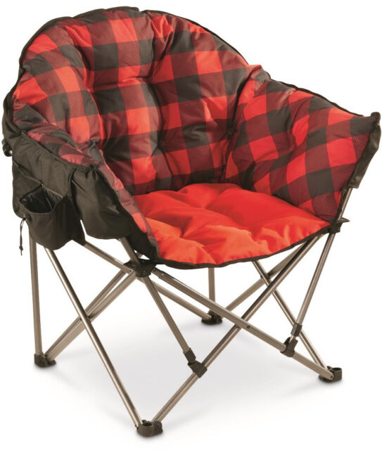 Fine Oversize Foldable Camping Chair Portable Outdoor Plaid Padded Cup 500 Lb Steel Ibusinesslaw Wood Chair Design Ideas Ibusinesslaworg