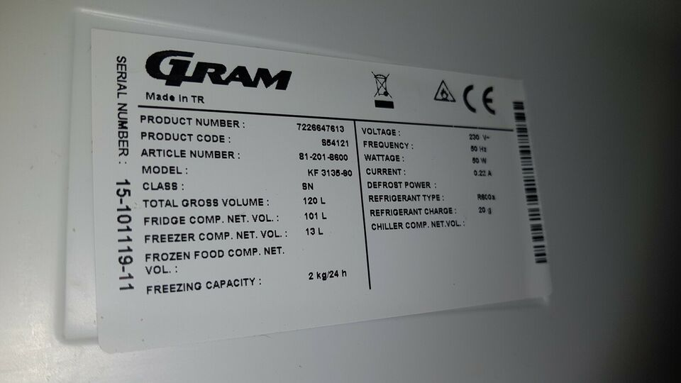 Køle/fryseskab, Gram 15 101119 11
