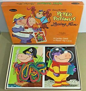 Peter Potamus Lacing Fun Hanna Barbera cartoon child toy Whitman unused 60s vtg