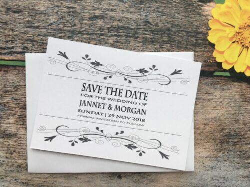 Personalised Magnetic Wedding Save The Date Evening Cards Diamante Envelope 23ai
