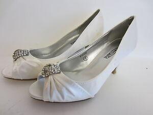 Mujer-Raso-Blanco-Puntera-Abierta-Zapatos-De-Salon-Con-Diamante-Giros-F10059
