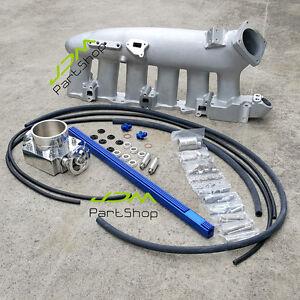 for-Nissan-RB25DET-R32-R33-R34-Intake-Manifold-80mm-Throttle-Body-Fuel-Rail-Blue
