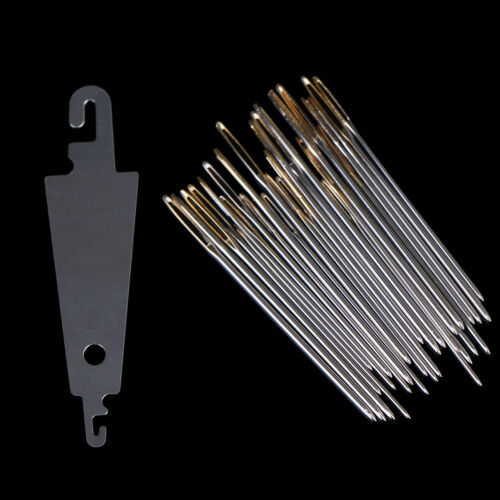 30x Hand Sewing Needles Gold Eye Embroidery Cross Stitch Needle With Threader TO