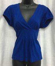 BANANA REPUBLIC SZ PL Blue Mock Wrap V Neck Short Sleeve Blouse Shirt Top