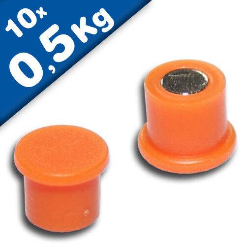 Magnetpins Ø 10 mm x 8 mm Neodym 10 x Pinnwandmagnete orange hält 0,5kg