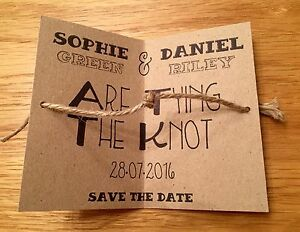 Tying The Knot Save The Date Tags Cards With Envelopes Wedding