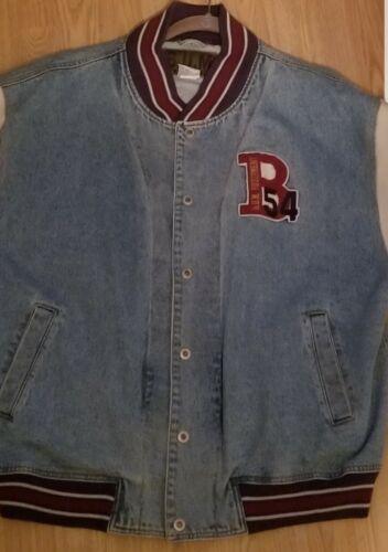 B.U.M. Equipment Vintage Denim Varsity Jacket Size