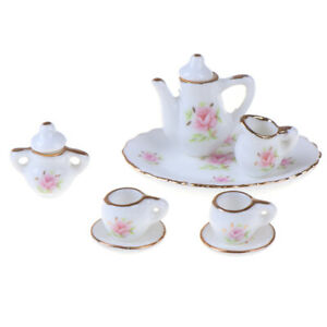 8Pcs-1-12-Dollhouse-Miniature-Dining-Ware-Porcelain-Tea-Set-Dish-Cups-J-DD