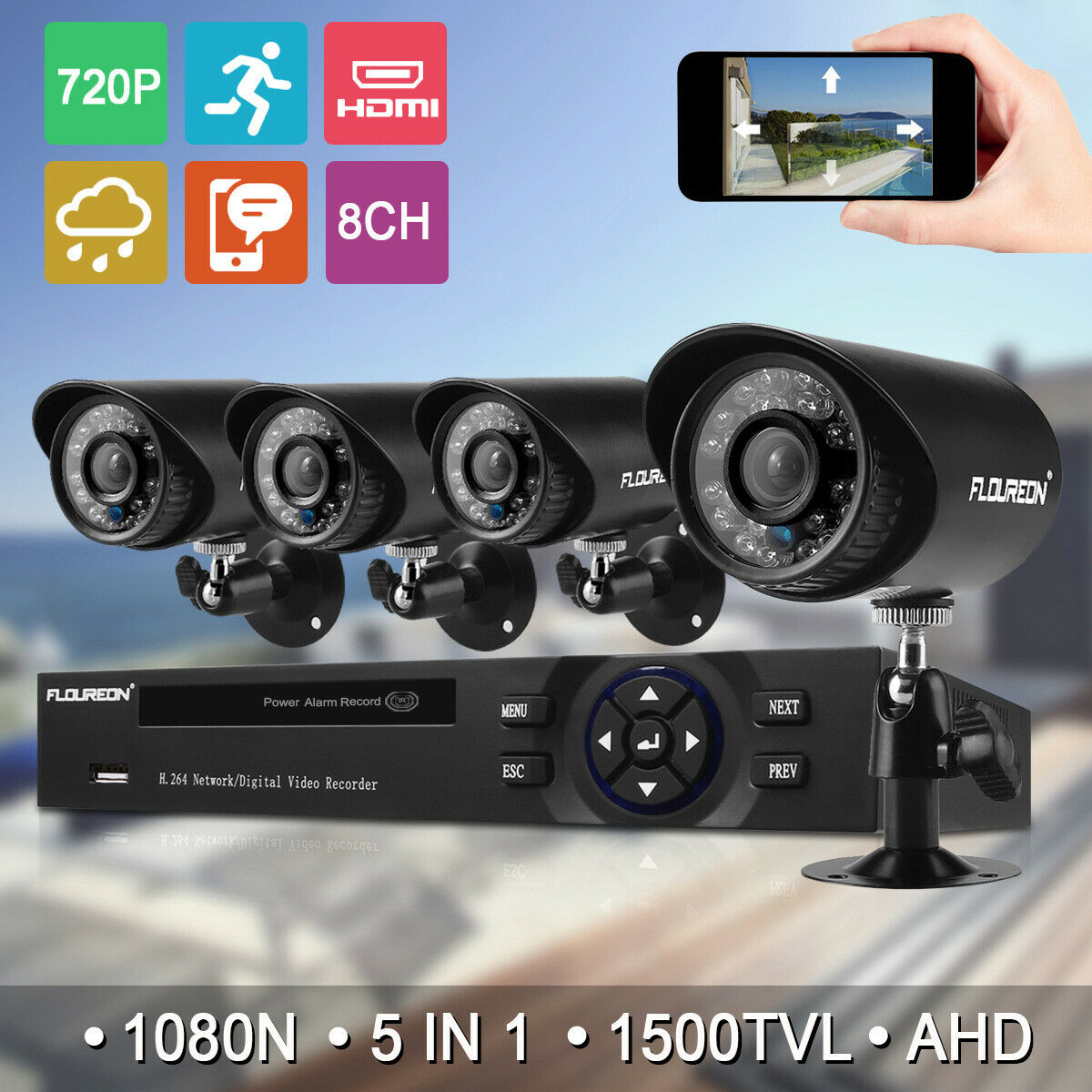 8CH 1080P CCTV DVR 1500TVL Outdoor 720P Night Vision Security Camera System Kit 1