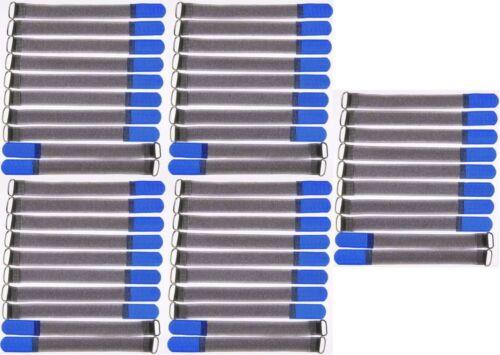 50 Klettkabelbinder mit Öse 200 x 20 mm blau FK Kabelbinder Klettband Kabelklett