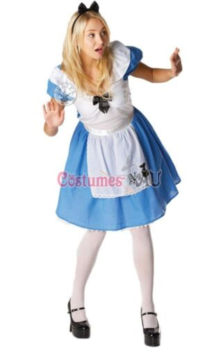 Licensed Alice in Wonderland Costume Disney Fairytale Womens Ladies Fancy Dress