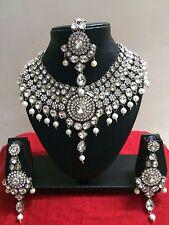 Indian Bollywood Style Diamante Kundan Pearl Rhodium Plated Bridal Jewelry Set