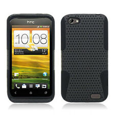 For HTC One V MESH Hybrid Silicone Rubber Skin Case Phone Cover Grey