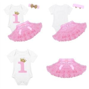 3293c44ed 3Pcs Baby Girl Toddler 1st Birthday Romper Tutu Skirt+Headband Set ...