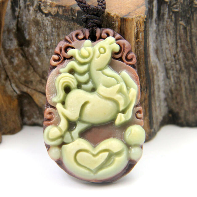 Lucky Chinese Zodiac Horse Yuanbao Money Black Green Jade Gem Amulet Pendant