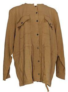 Denim-amp-Co-Women-039-s-Plus-Sz-2X-Textured-Knit-Button-Front-Jacket-Brown-A307115