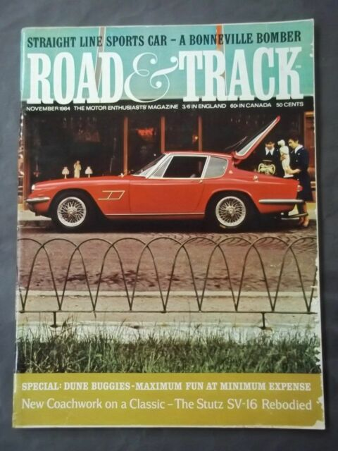 Vintage Road & Track Magazine - November 1964 The Stutz SV-16 Rebodied