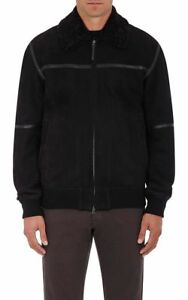 5995 Ermenegildo Zegna Black Shearling Bomber Jacket