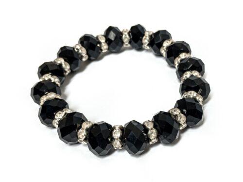 Cute Black /& Silver Rhinestone Stretchy Elastic Bracelet Bead Design Gift NEW UK
