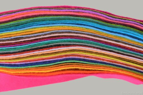 Wool Mix Soft Craft FeltOffcutsClearance20 or 40 Colour Bargain Packs