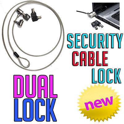 Optima Dual Kensington Slot Key Cable Security Lock HP Sony Toshiba Laptop PC