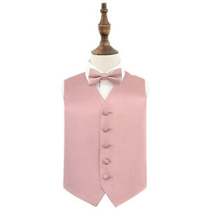 Dusty-Pink-Boys-Waistcoat-Bow-Tie-Set-Satin-Plain-Solid-Wedding-Vest-by-DQT