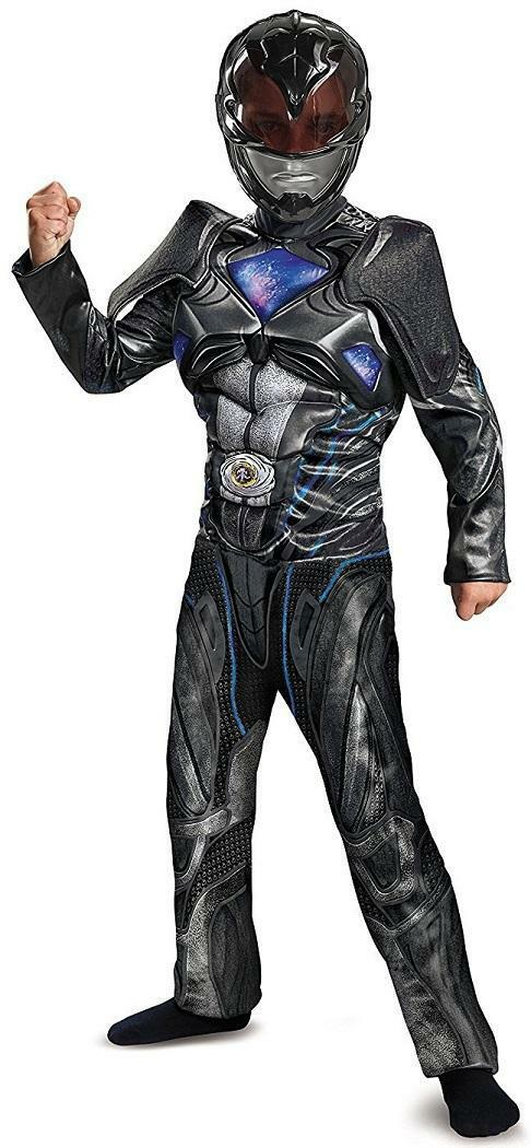 Power Rangers Movie Black Ranger Fancy Dress Halloween Deluxe Child Costume