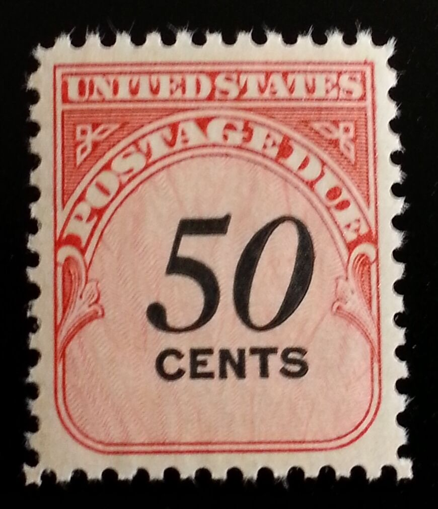1959 50c Postage Due Carmine Rose & Black Scott J99 Min