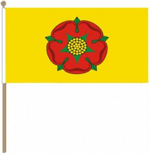 "Lancashire Old 9/"" x 6/"" Hand Waving Flag"