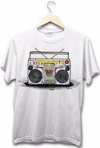 Old-School-Ghetto-Blaster-Boom-Box-Hip-Hop-Rap-Music-80-039-s-Retro-Mens-T-Shirt