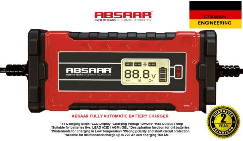 ABSAAR 12V/24V 8A Automatic Smart Fast Trickle Battery Charger LEAD ACID AGM GEL