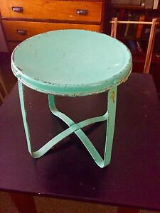Antique Primitive Milking Stool Turquoise All Metal Plant