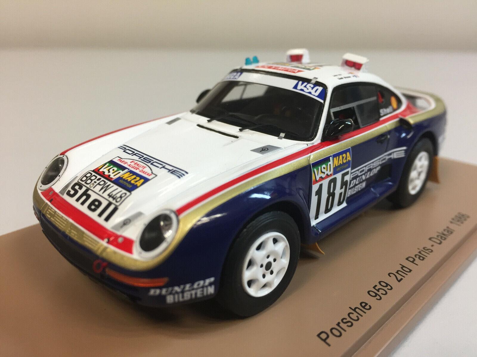 Spark Porsche 959 n°185 2ème Paris Dakar 1986 J. Ickx 1 43 S7814