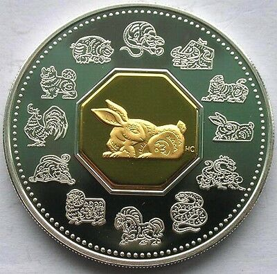 Canada 1999 Year of Rabbit 15 Dollars 1oz Gild Silver Coin,Proof