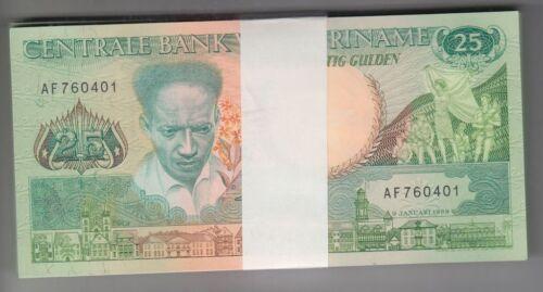 SURINAME 1988 25 Gulden Bundle 100pcs UNC Banknotes Pick 132 Wholesale