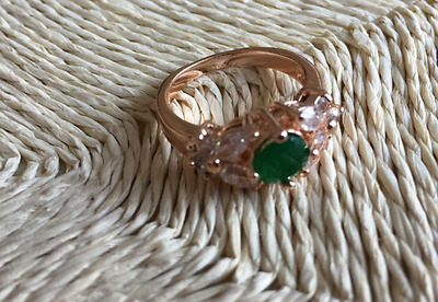 18K Gold GP Green Ruby Gemstone Woman Fashion Wedding Ring US7