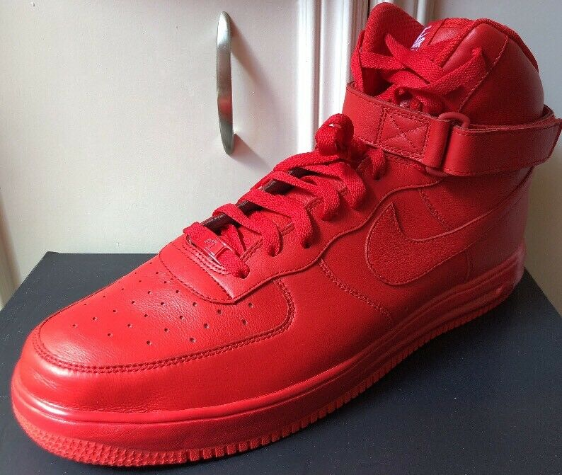 New Nike Air Force 1 Lunar ID Nikeid All Red October Rare Size 15